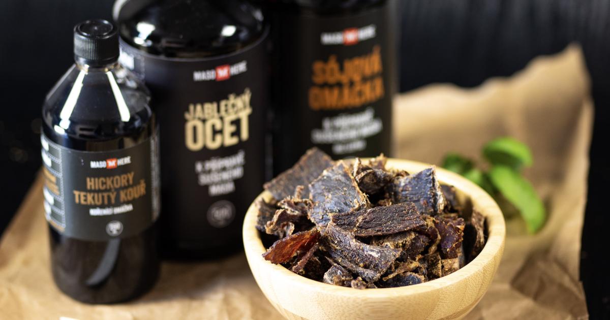 Recept na domácí jerky s tekutým kouřem, sójovkou a octem