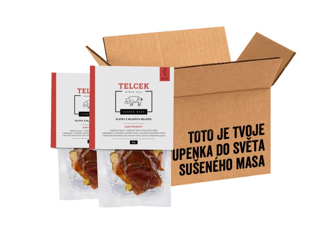 Levně Telcek - Plátky z mladých selátek Chilli Carolina Reaper 15 x 50g