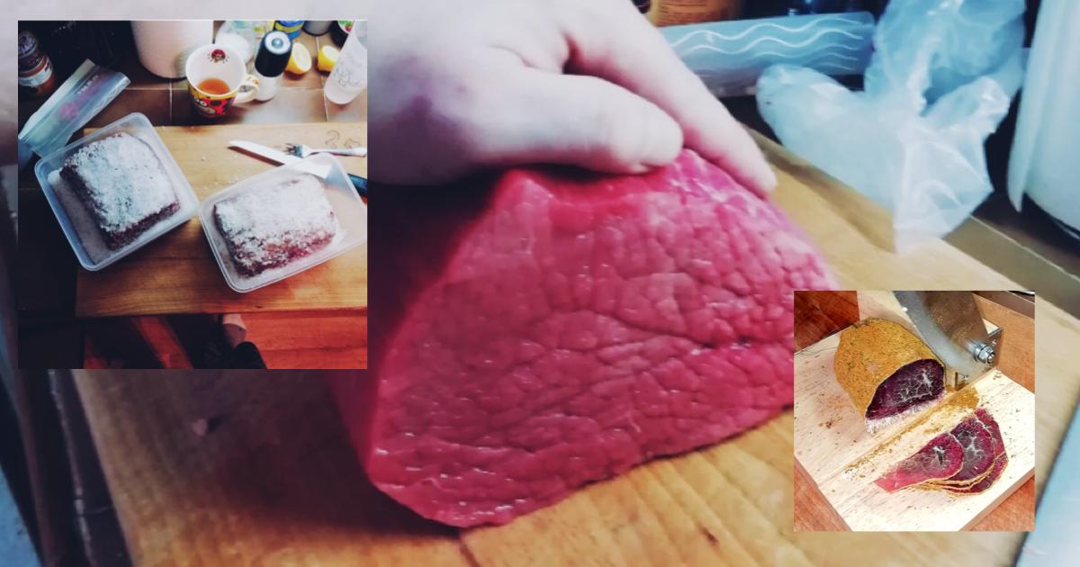Recept na sušené hovädzie mäso naložené v soli a sušené vo vise v gáze