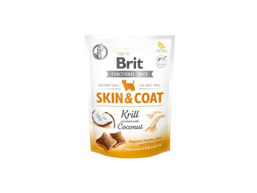7605 brit care dog functional snack skin coat krill 150g