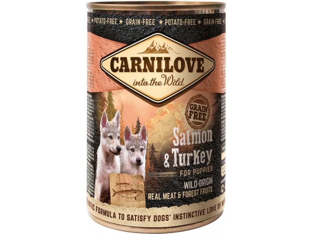 3714 carnilove wild meat salmon turkey for puppies 400g