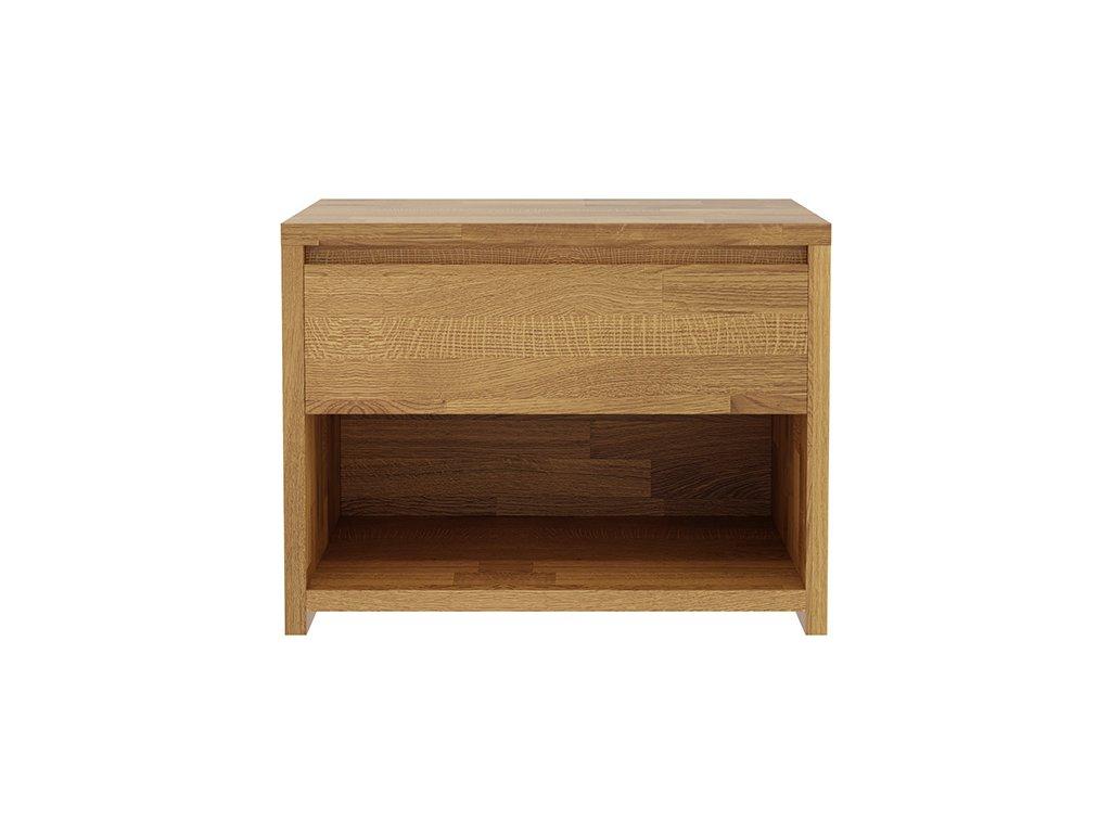 Noční stolek Massivo 1s, dub, masiv