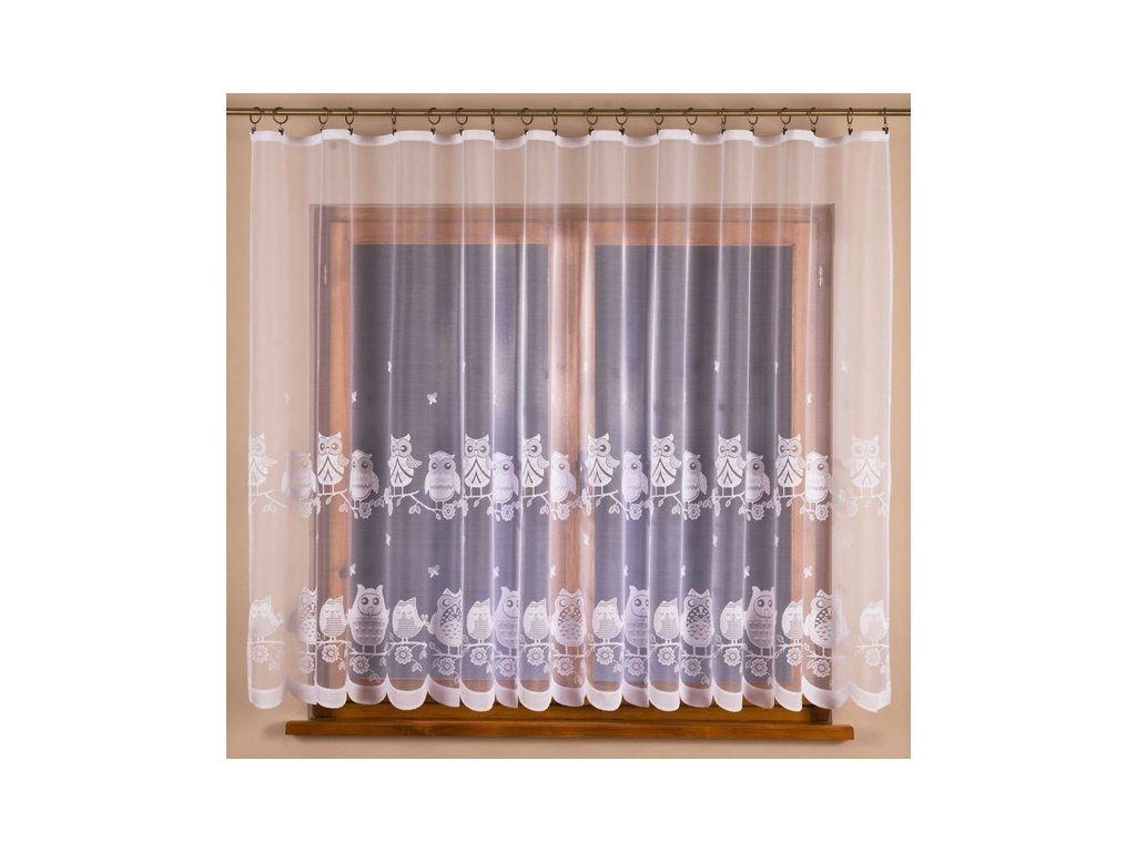 Žakárová záclona se sovičkami č.4321 bílá