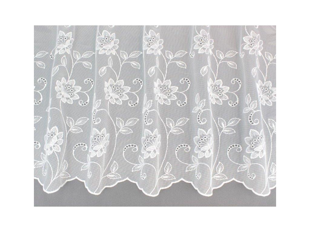 Žakárová záclona s výšivkou bílá