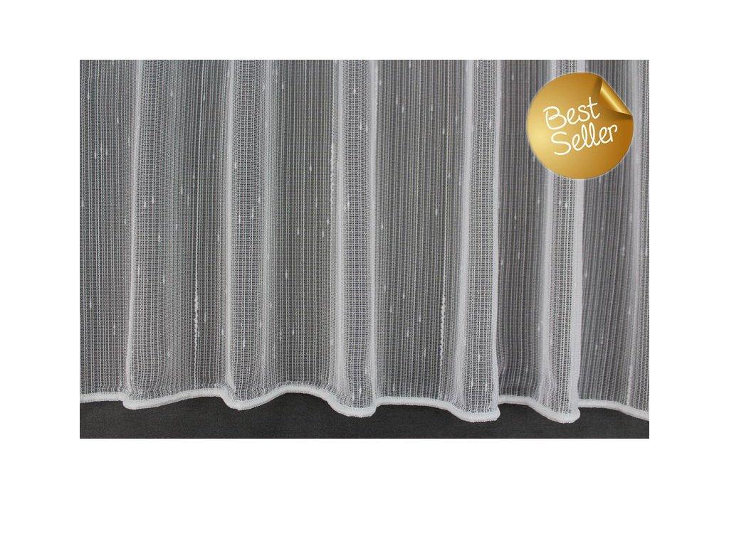 Žakárová záclona s olůvkem 8753 bílá