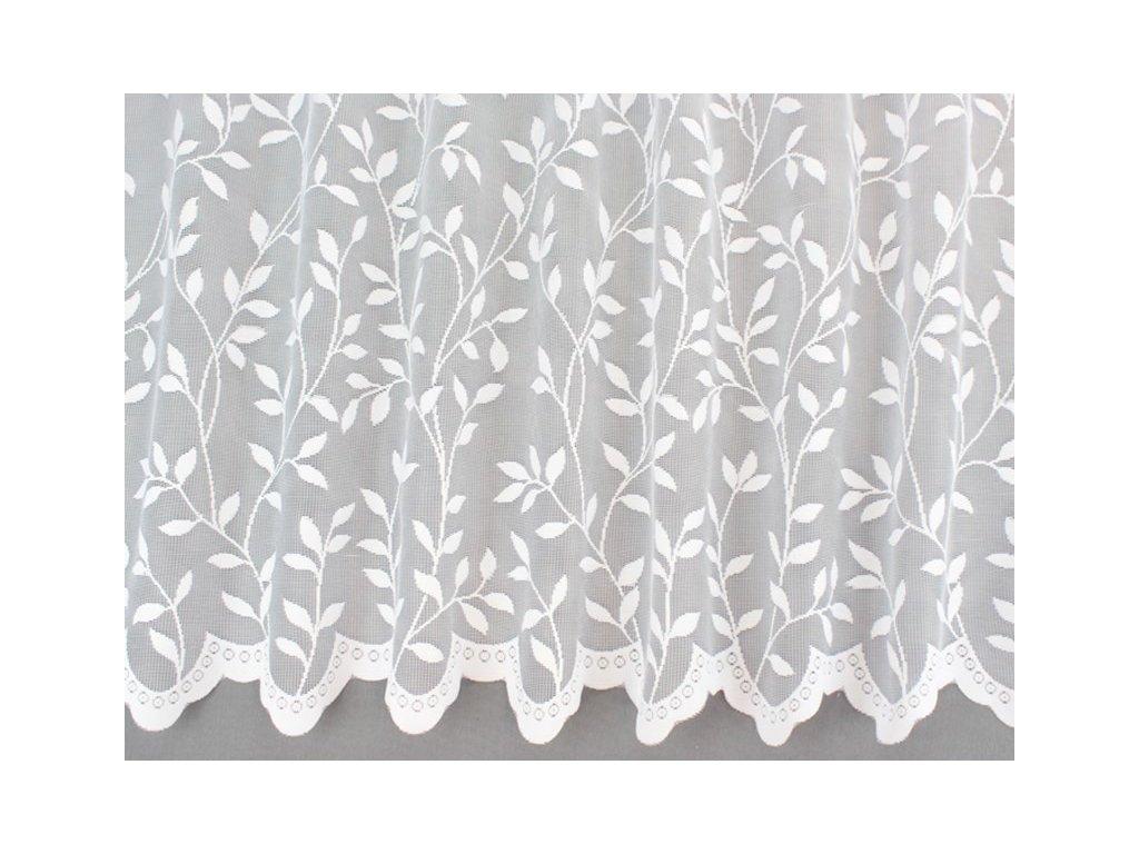 Žakárová záclona s lístečky bílá
