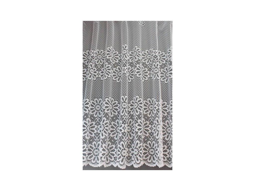Žakárová záclona s kantou bílá