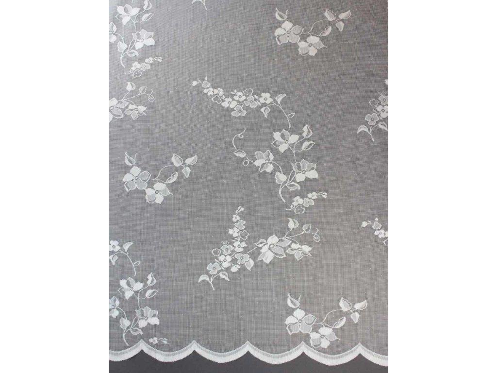 Žakárová záclona s celoplošným vzorem bílá