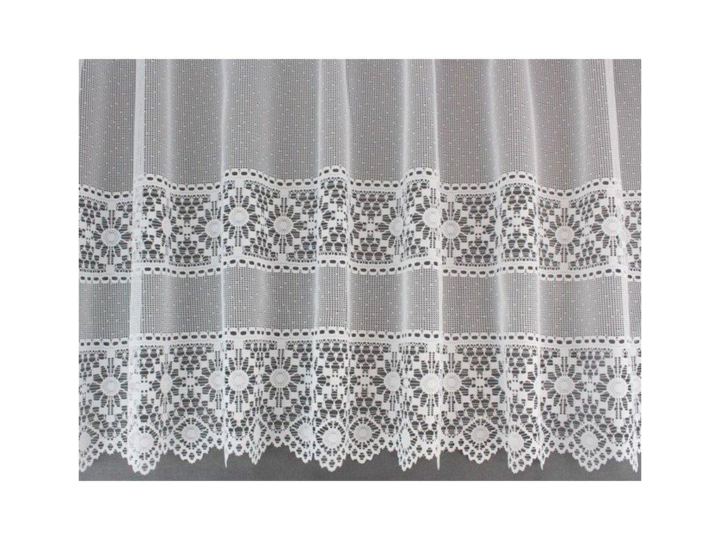 Žakárová záclona na vitrážní tyč bílá