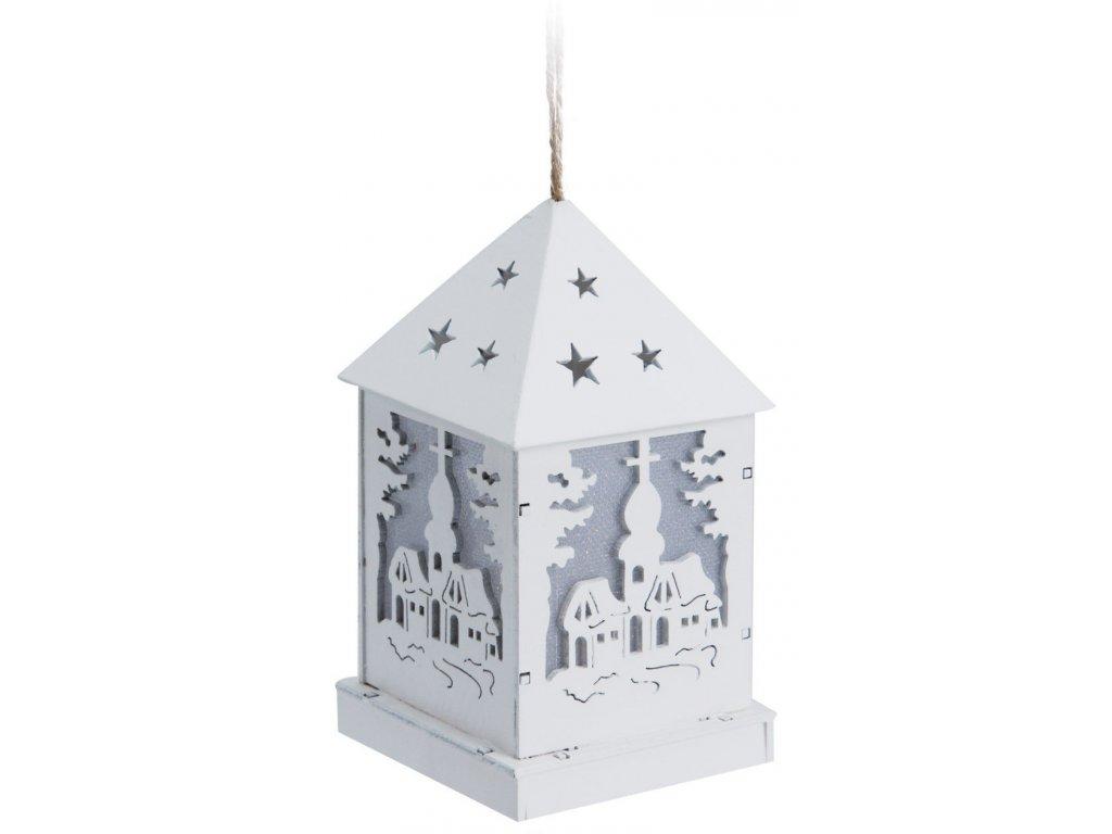 Závěsná LED lucerna Kostel 6,5x6,5x12 cm bílá