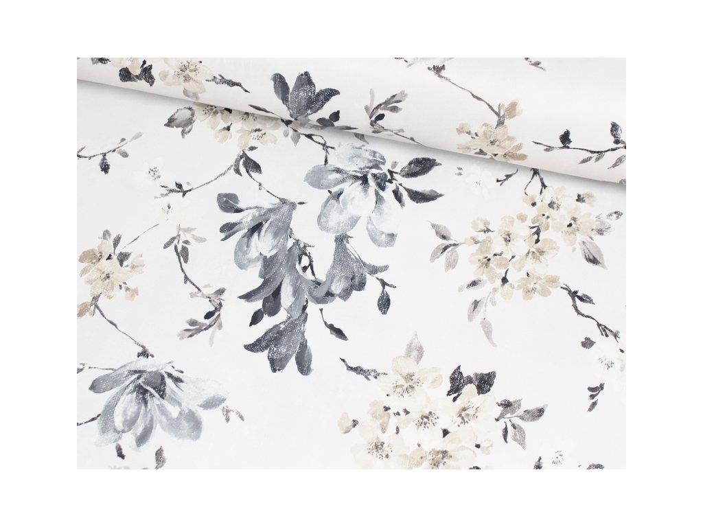 Zatemňovací dekorační látka Black out s květinovým vzorem šedá-béžová