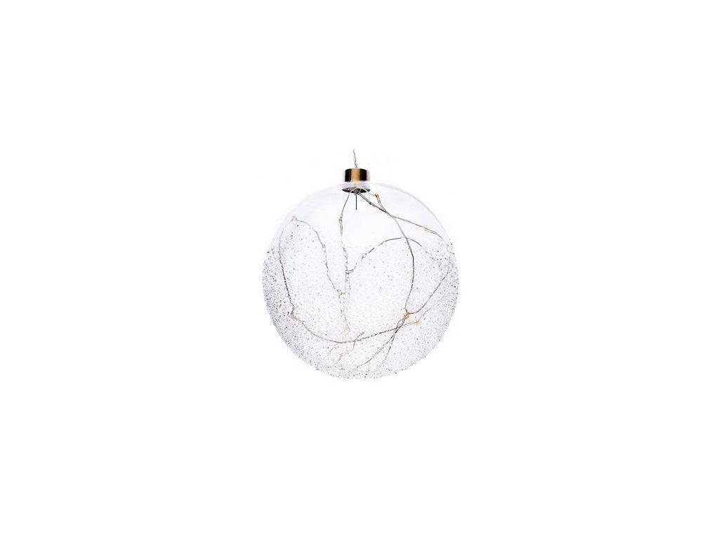 Zasněžená svítící koule 14x14x16 cm čirá