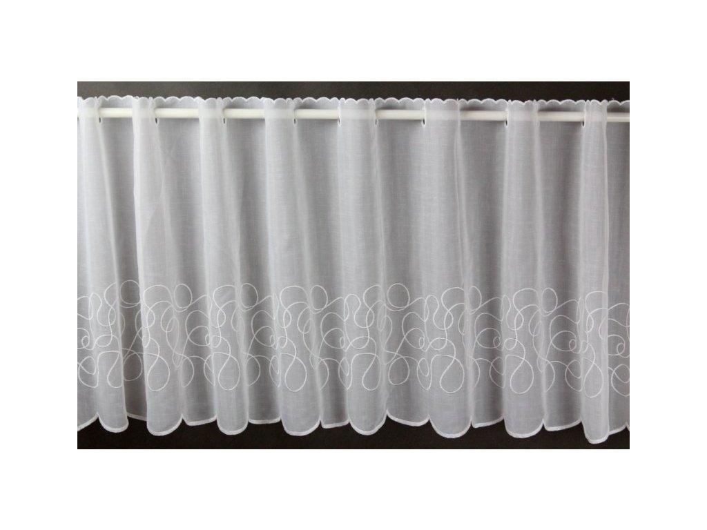 Záclona/voál s výšivkou výška 45 cm smetanová