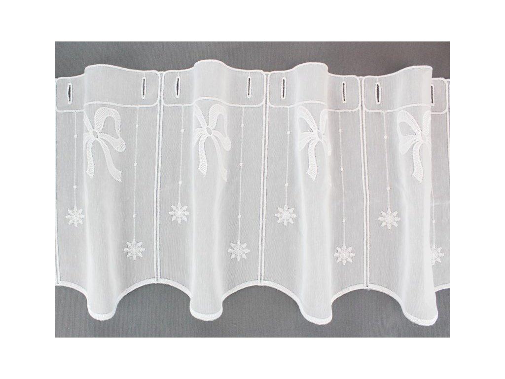 Záclona s výšivkou vánoční motiv bílá