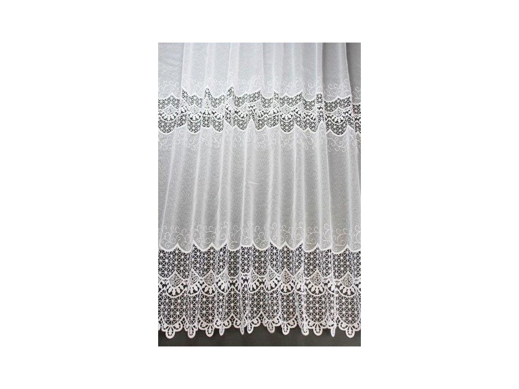 Záclona s výšivkou na tkaném voálu V801 bílá