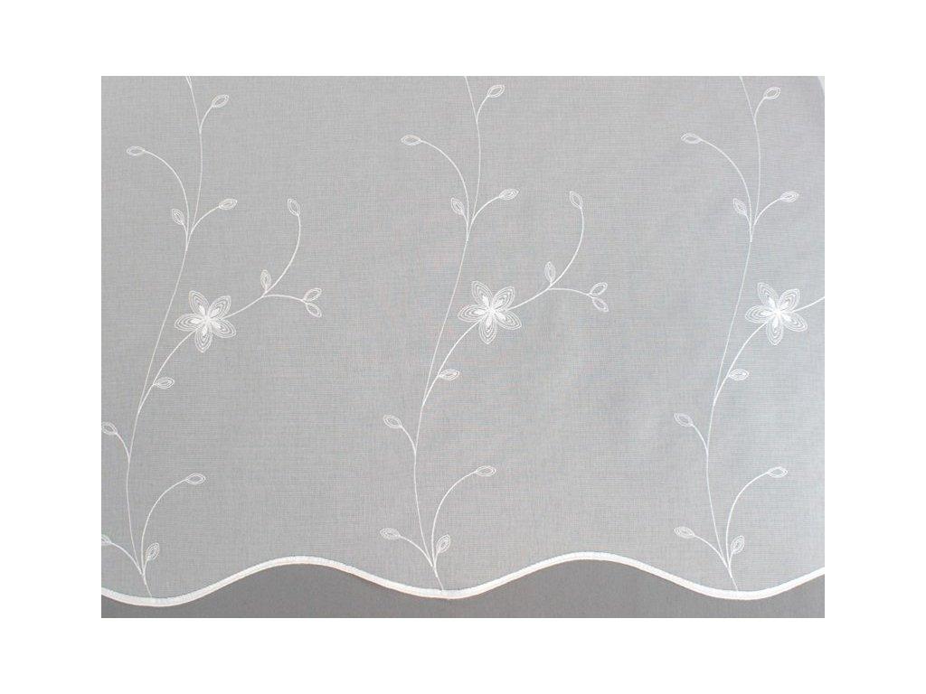 Záclona s výšivkou na tkaném voálu bílá