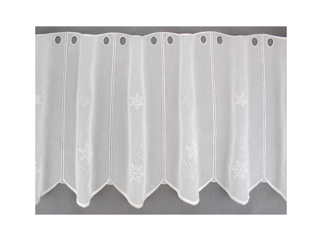 Vyšívaná záclona s vánočním motivem bílá/stříbrná