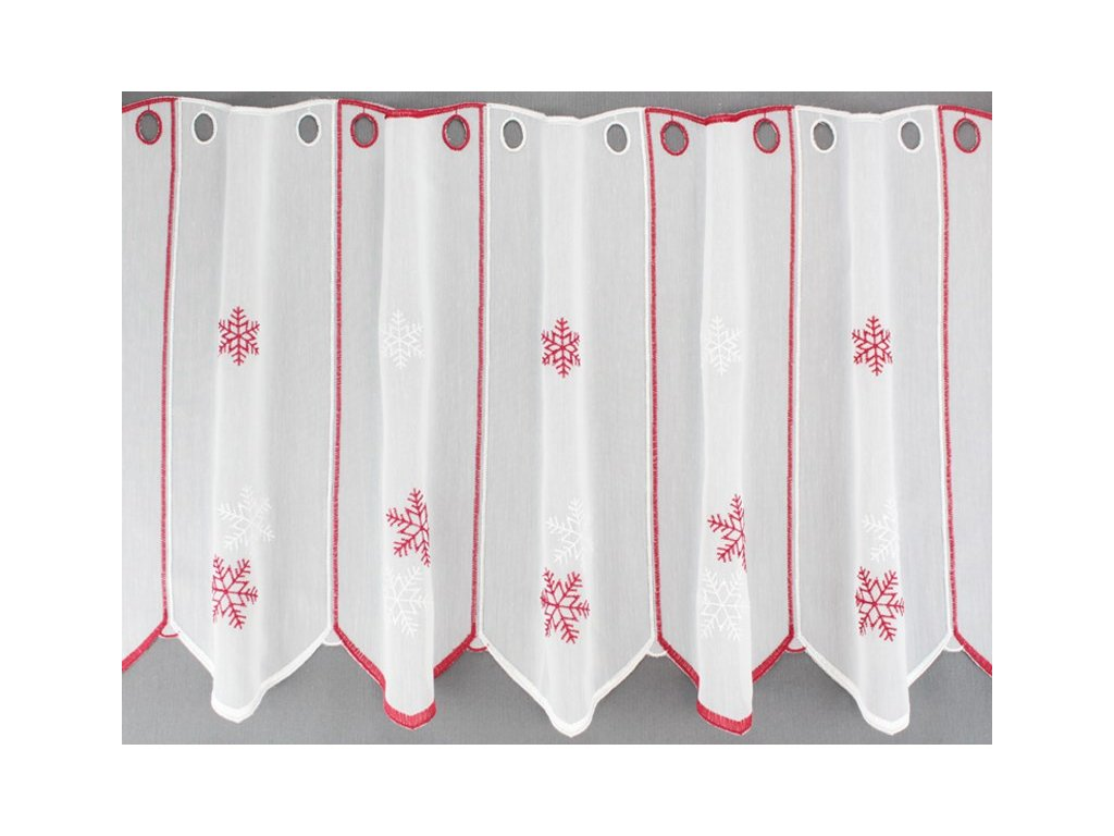 Vyšívaná záclona s vánočním motivem bílá/červená
