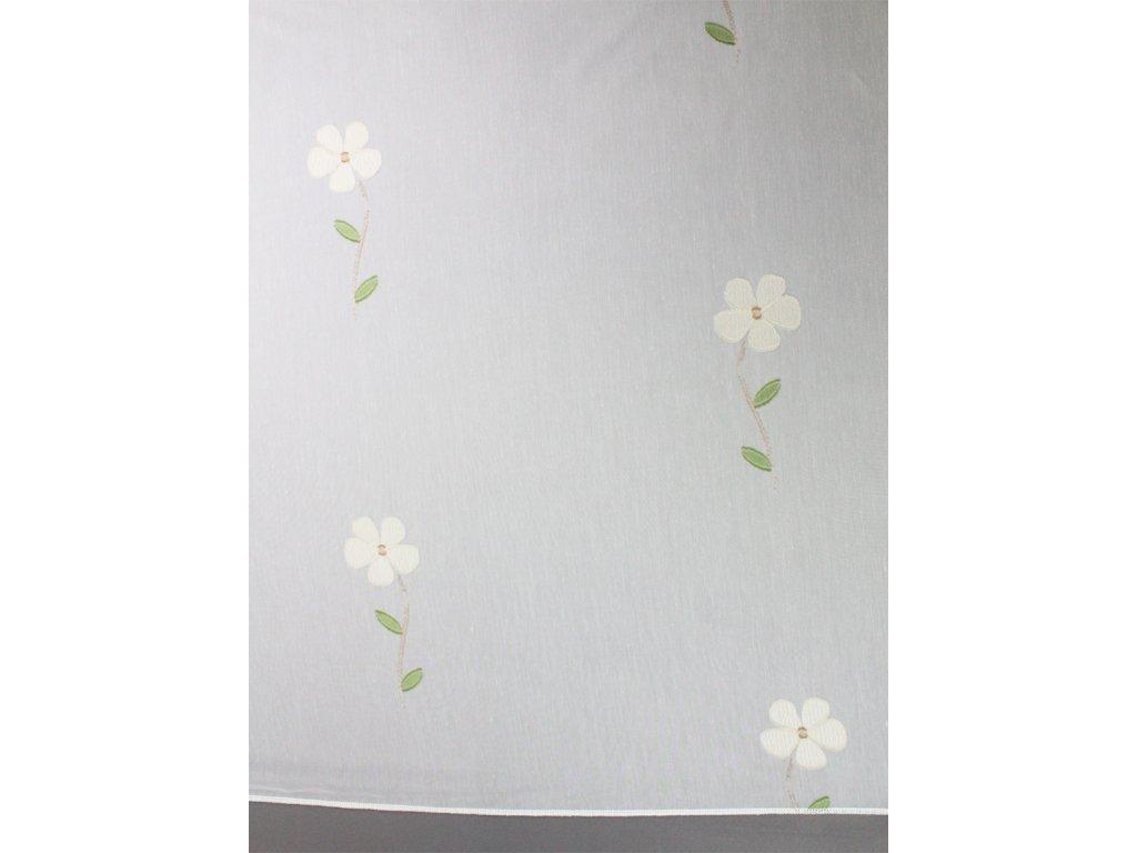 Voálová záclona výška 300 cm bílá-zelená