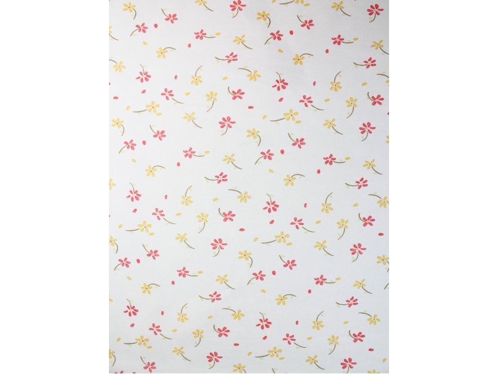 Voálová záclona PIROS se vzorem kytiček bílá/červená/žlutá