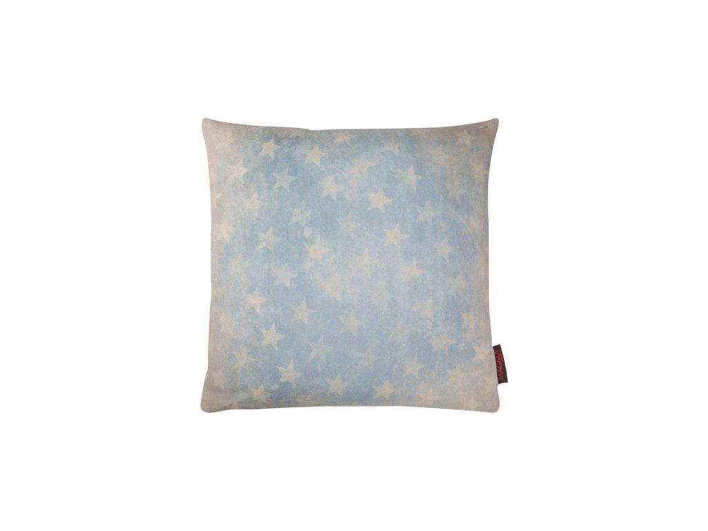 Vintage povlak na  polštář s hvězdami 40x40 modrý