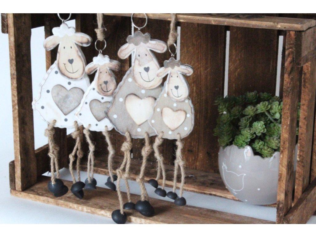 Velikonoční dekorace závěsná dřevěná ovečka tmavá malá 11 cm