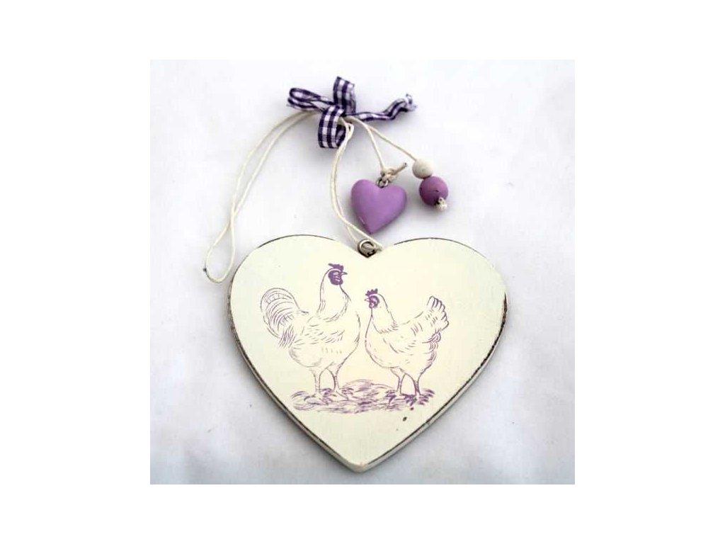 Velikonoční dekorace fialové srdce výška 8 cm|fialové