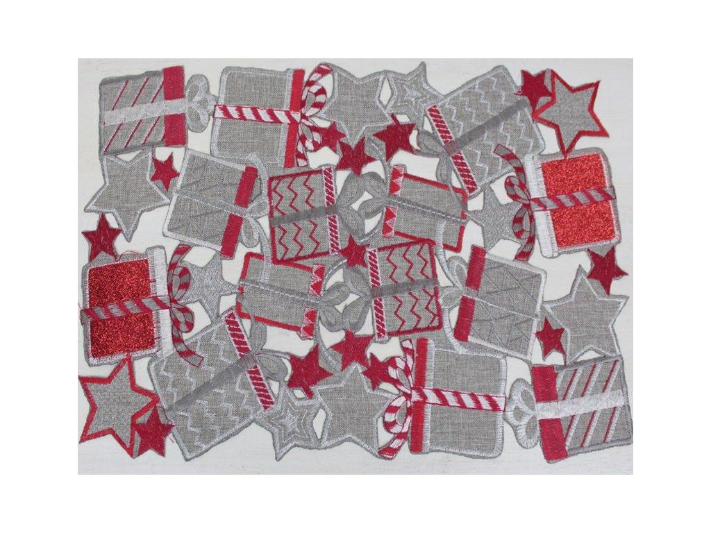 Vánoční ubrousek V153 25x40 cm červený