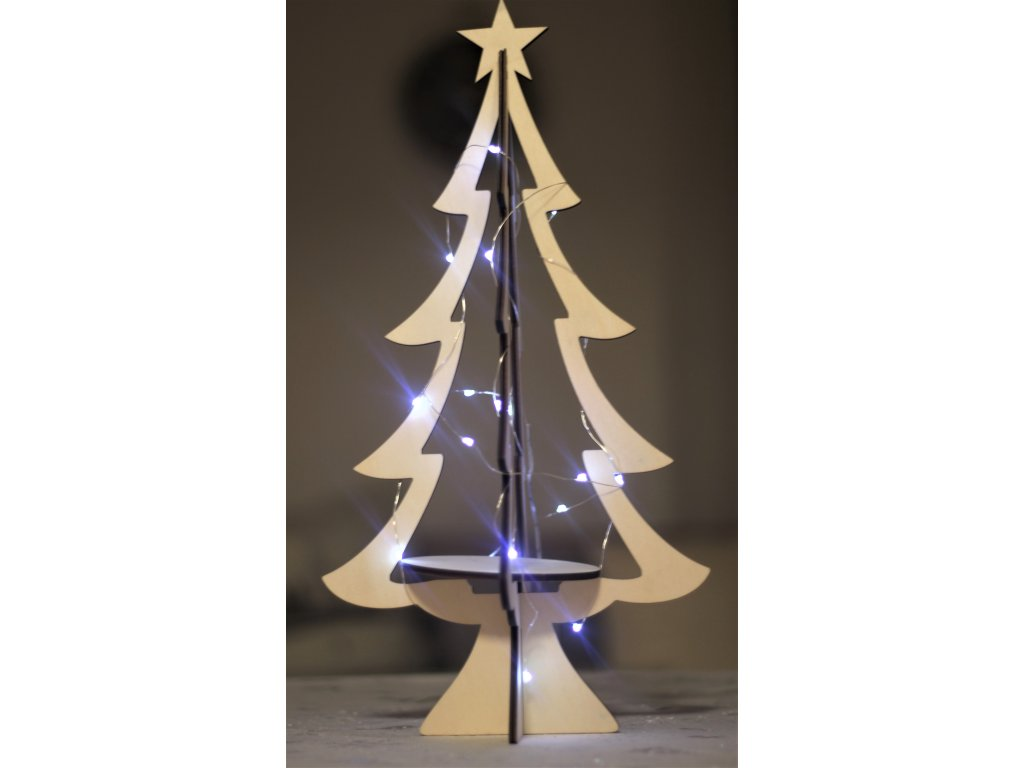 Vánoční stromek dřevěný 1000886 výška 46 cm světlý