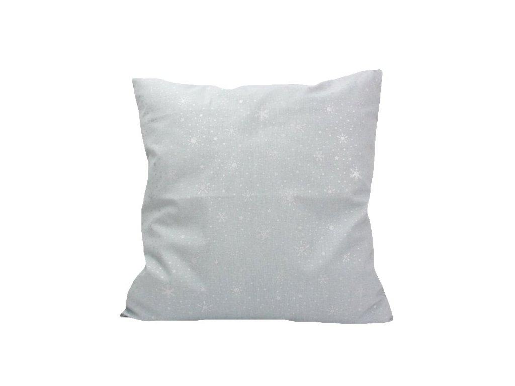 Vánoční povlak Vločky 40x40 stříbrná/šedá