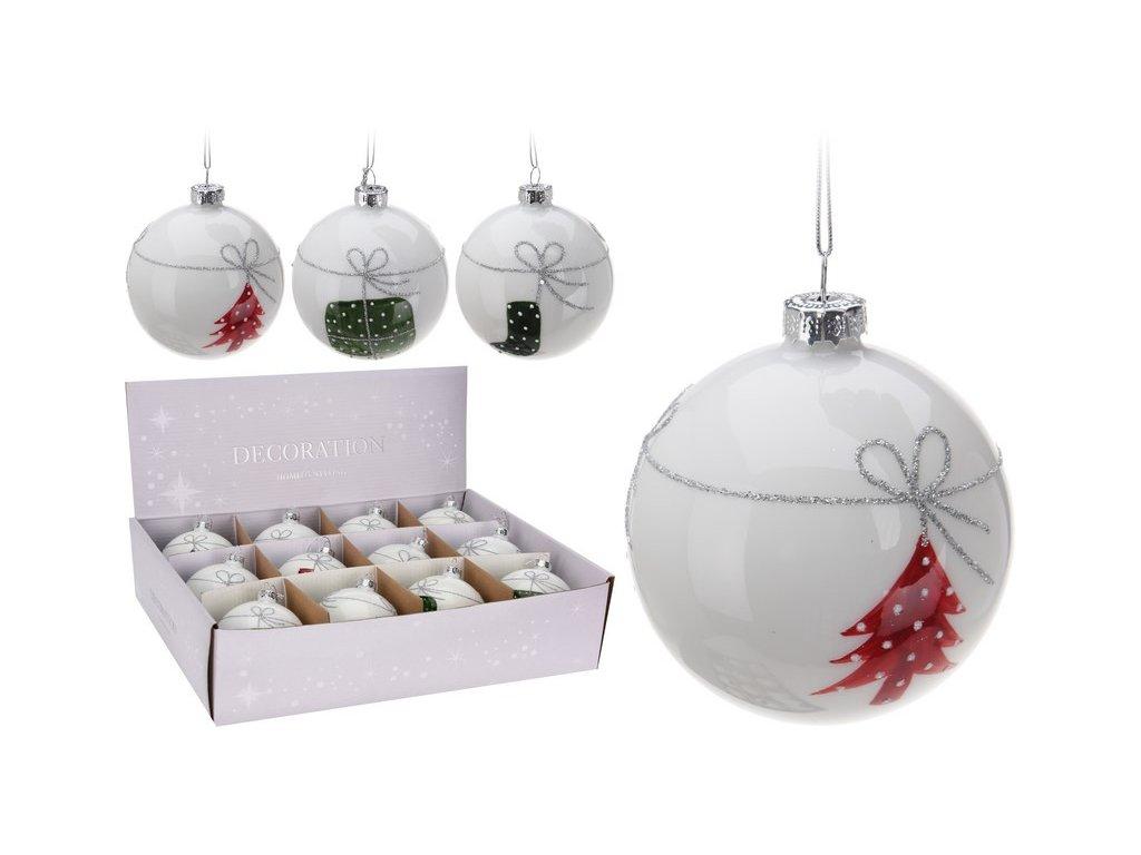 Vánoční ozdoby skleněné průměr 8 cm bílé s dekorem