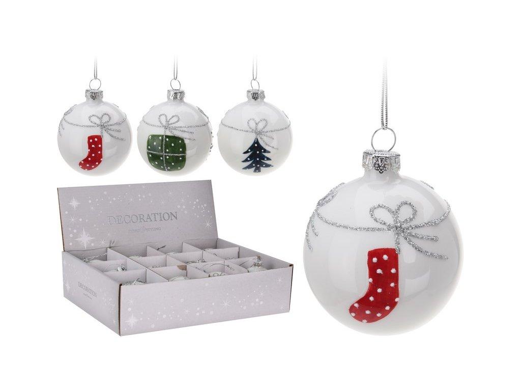 Vánoční ozdoby skleněné průměr 6 cm bílé s dekorem