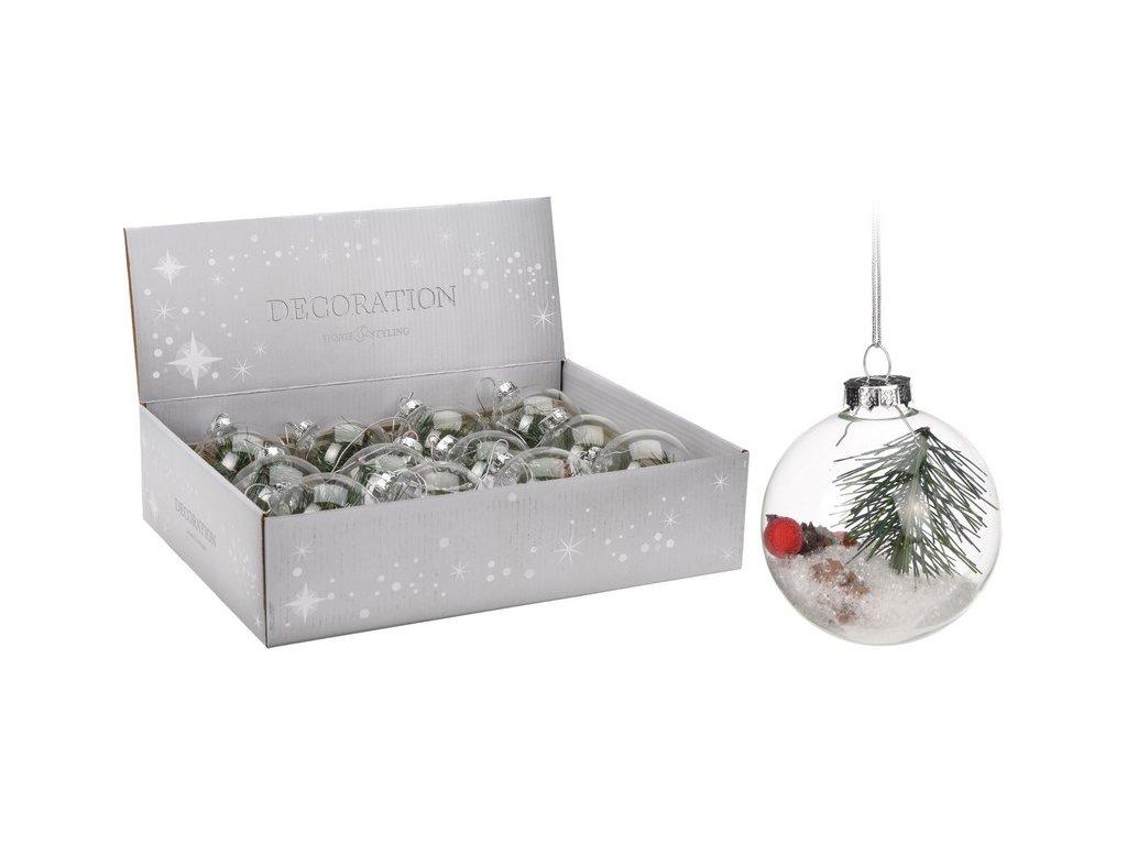 Vánoční ozdoby skleněné průhledné s větvičkou průměr 7 cm čiré