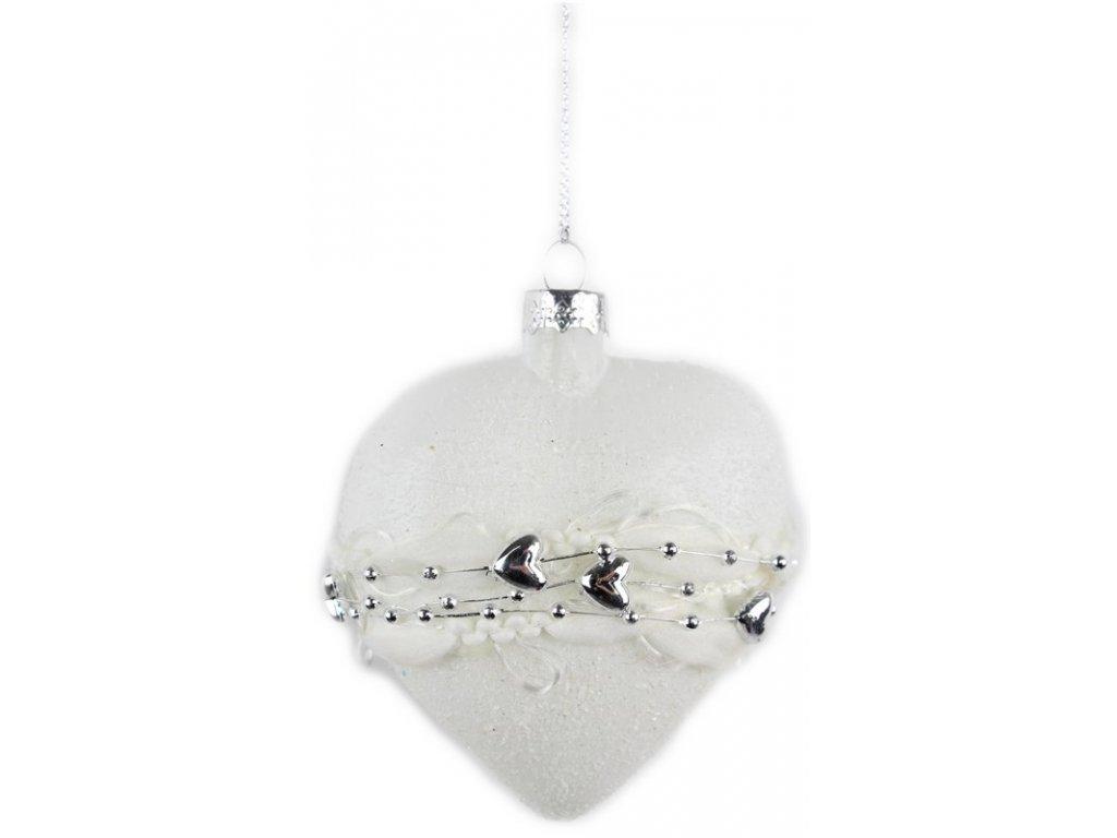 Vánoční ozdoba srdce bílá/stříbrná