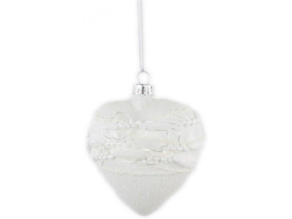 Vánoční ozdoba srdce bílá