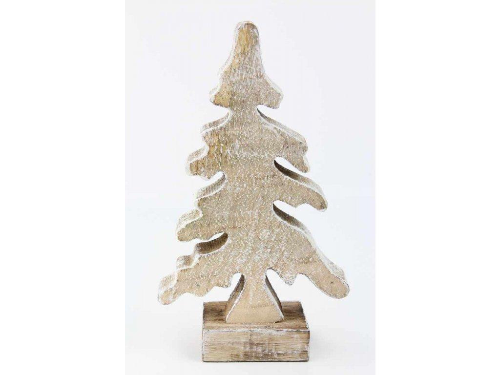 Vánoční dřevěný stromeček 218151 12x5x20 cm přírodní/bílá