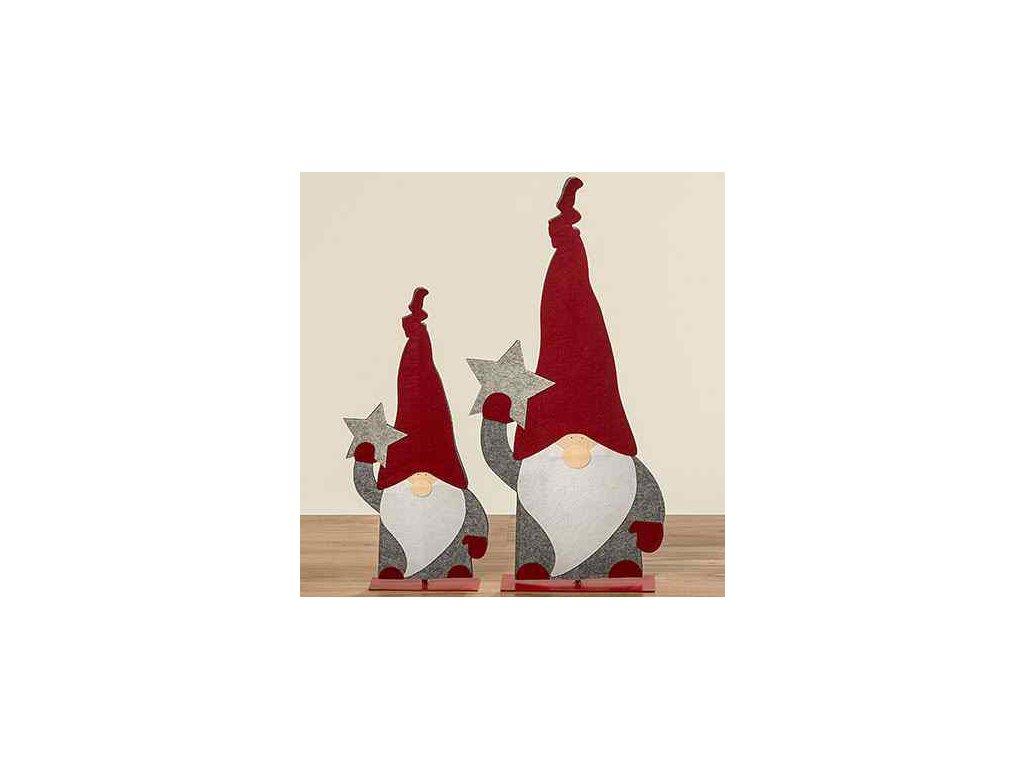 Vánoční dekorace skřítek výška 55 cm červená/šedá