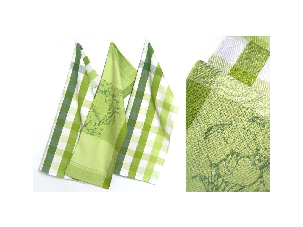 Utěrky Greenery 50x70 cm 3ks v balení bílo/zelené