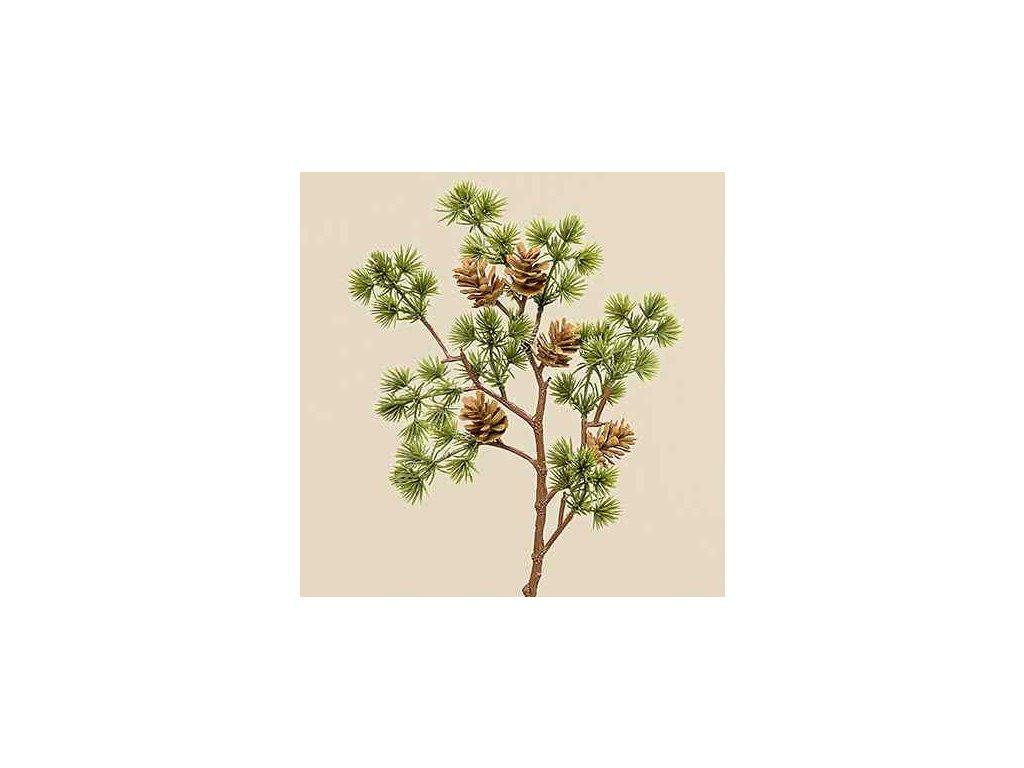 Umělá větvička se šiškama 40 cm zelená