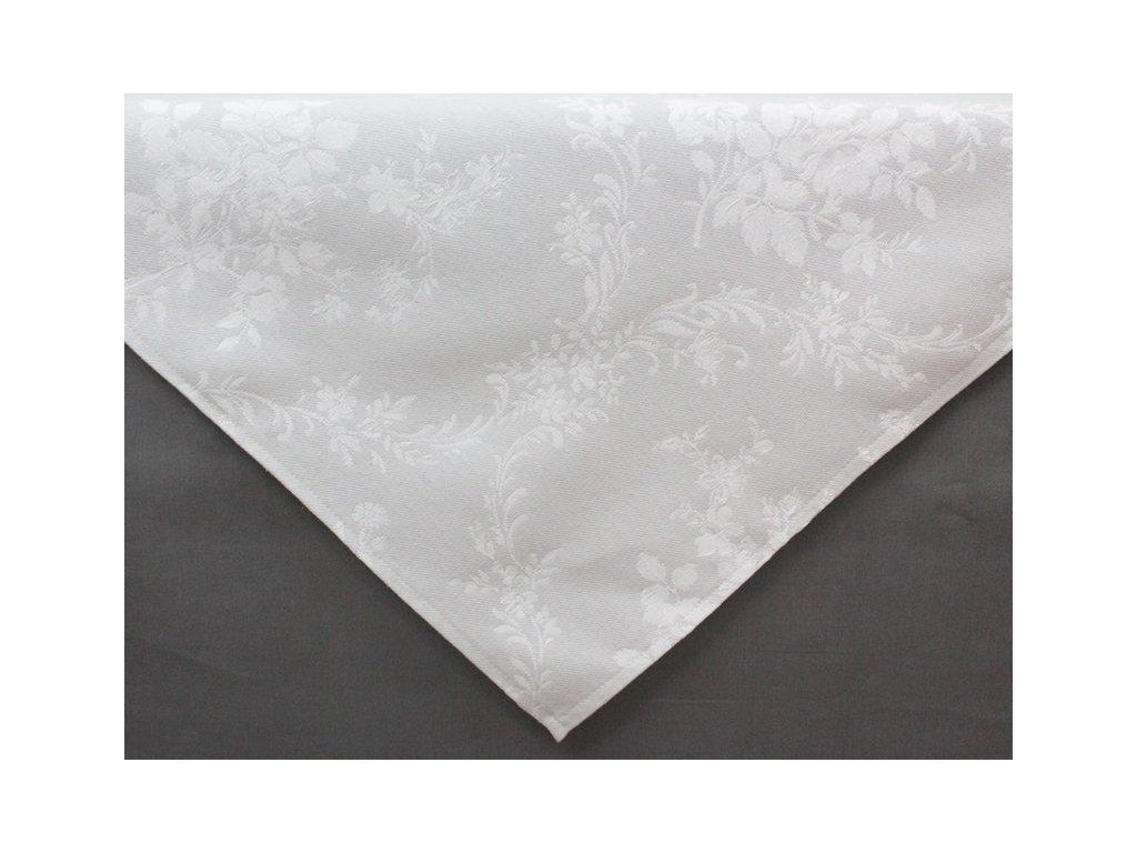 Ubrus s květinovým motivem tmavý 65x65 cm bílá/šedá