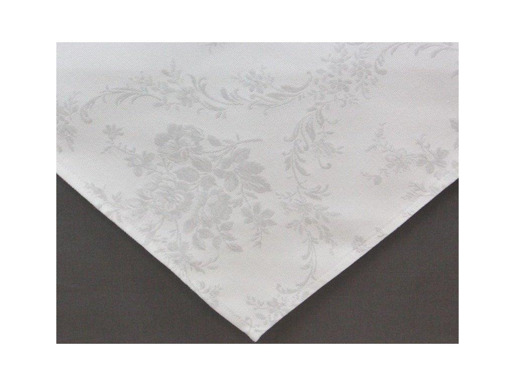 Ubrus s květinovým motivem světlý 65x65 cm bílá/šedá