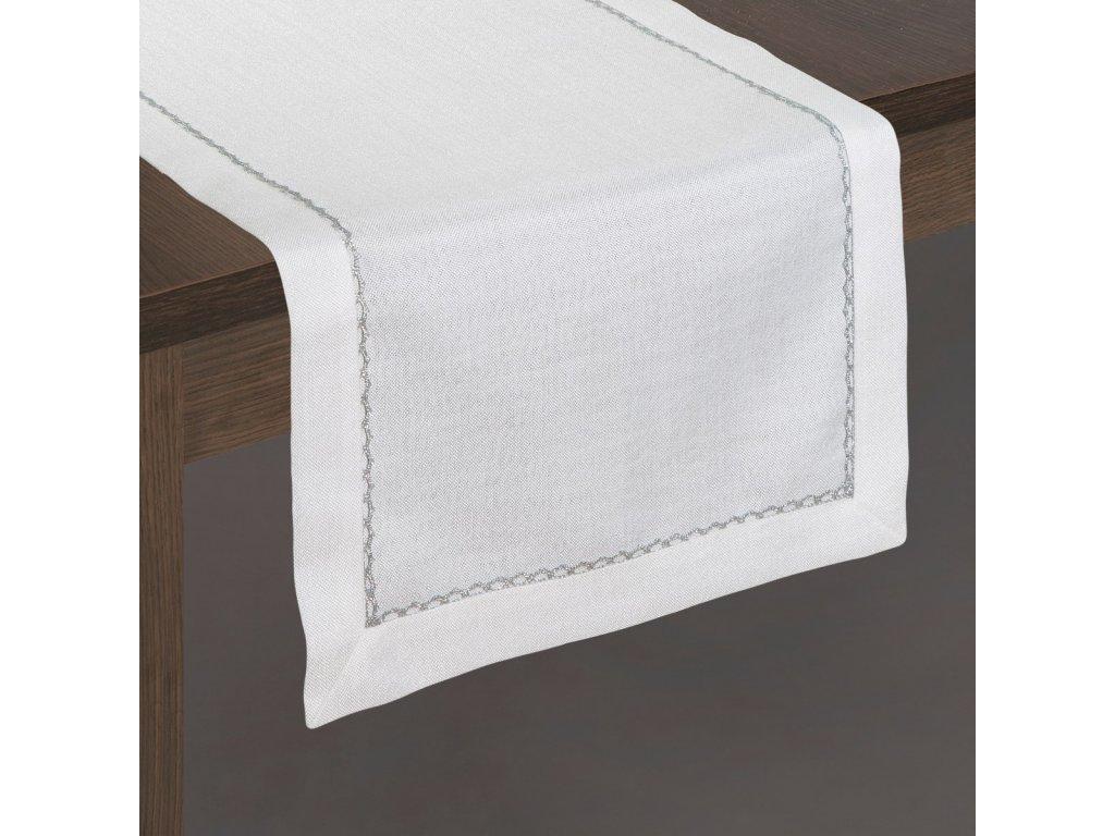 Ubrus Mila 40x180 cm bílá/stříbrná
