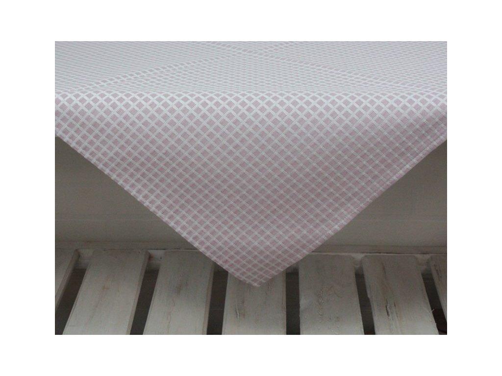 Ubrus kostkovaný vzor tmavý 65x65 cm starorůžová/bílá