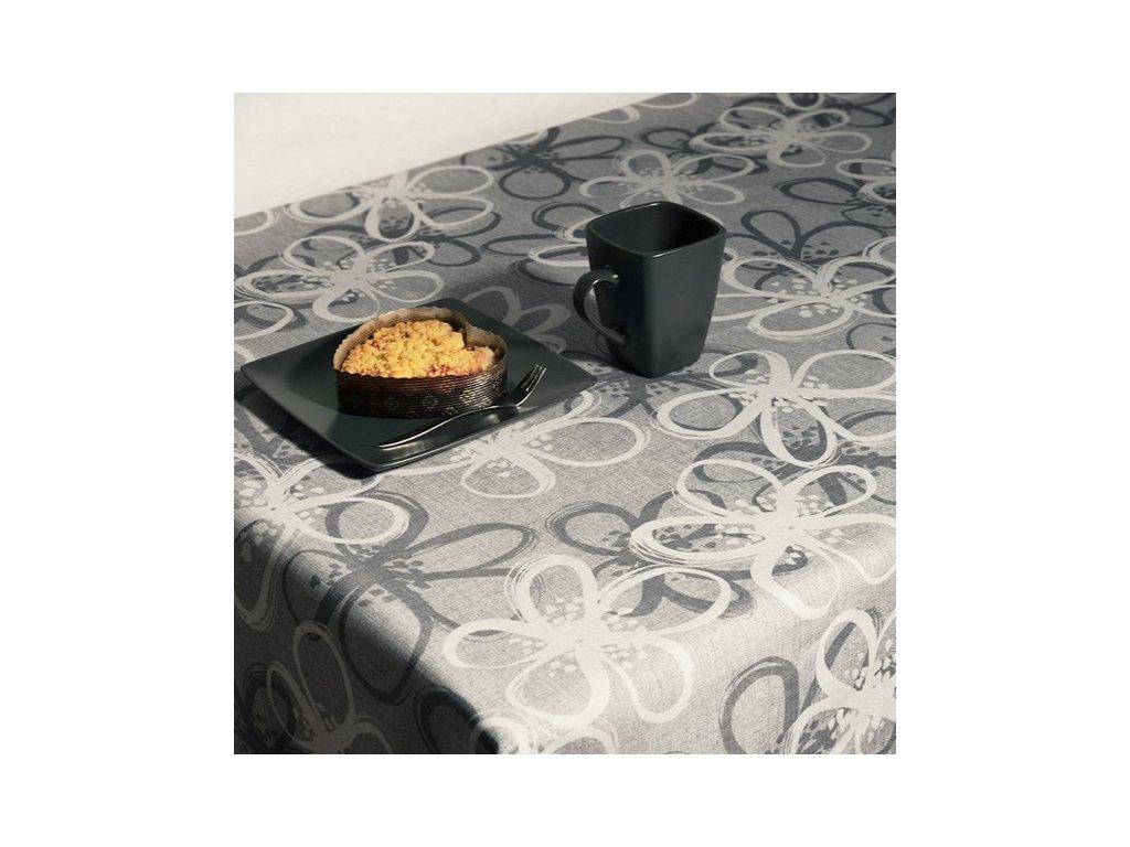 Teflonový ubrus s tiskem Loren šedý