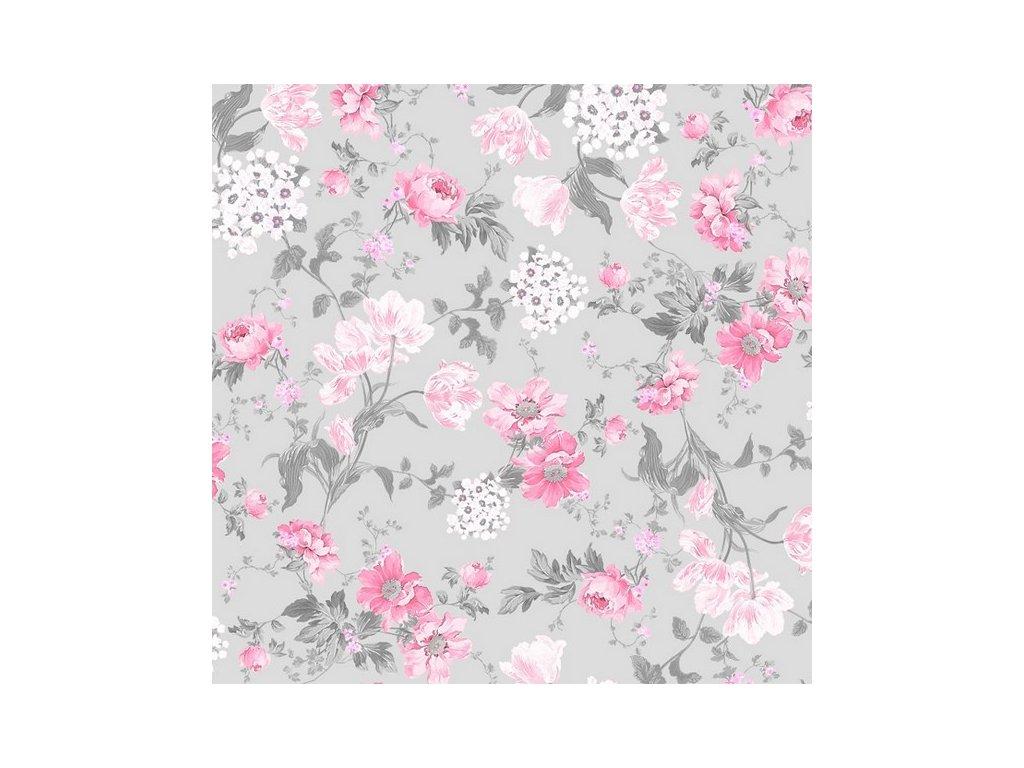 Teflonový ubrus s květinovým vzorem Sweet Rose růžovo-šedý