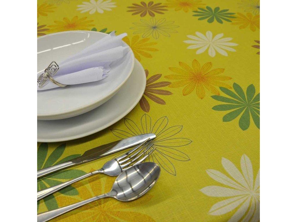 Teflonový ubrus květinový obdelník 140x180 zelený