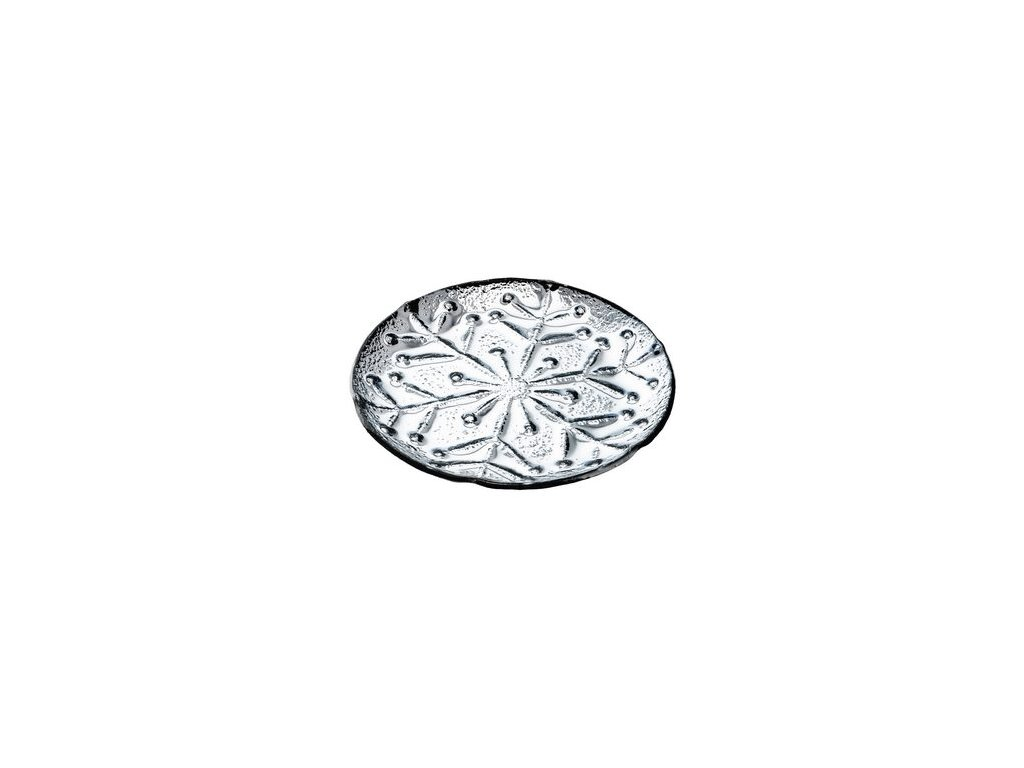 Tácek s motivem vločky 19x19x1,5 cm stříbrný