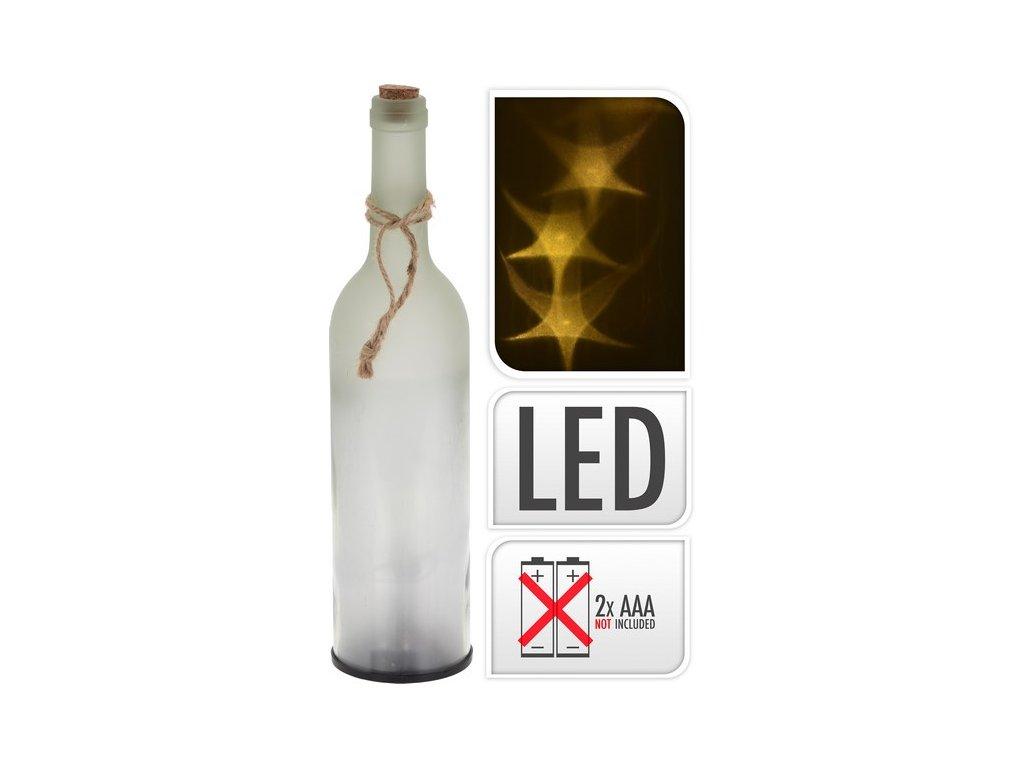 Svítící LED láhev výška 30 cm kouřová