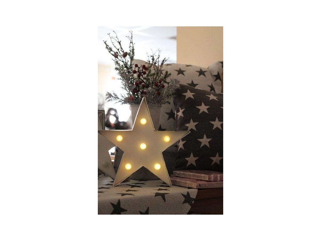 Svítící hvězda s LED SA162 26x27x5 cm bílá