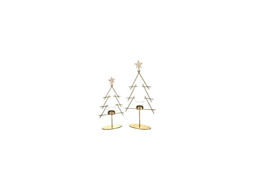 Svícen vánoční stromeček na čajovou svíčku 35x18x6 cm zlatý